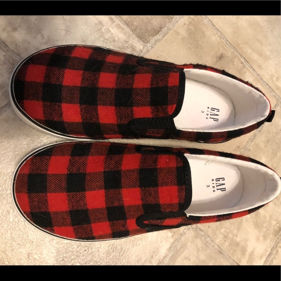 Gap Kids flannel buffalo check slip ons